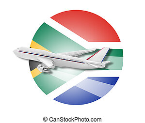Plane and South Africa flag. - Plane on the background flag...