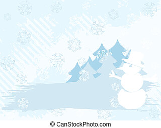 Horizontal grungy winter background in light colors