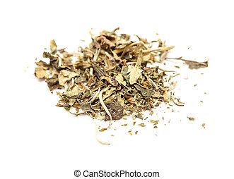 biały, herbata, Pai, Mu, Opalenizna, liście, odizolowany,
