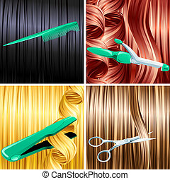 Hair care panels - Haircare panels of combing, cutting,...