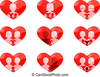 Non traditional families heart shaped buttons - Set of heart...