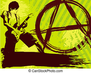 Neon green Punk rock background - Edgy music background....
