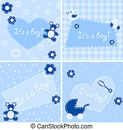 Quilted birth announcement cards for a boy - Four designs...
