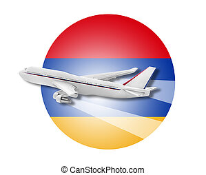 Plane and Armenia flag - Plane on the background flag of the...