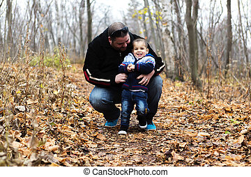 Father and son on fall season - A Father and son on fall...