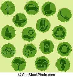 All green Grunge eco buttons