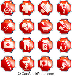 Glossy red medical buttons