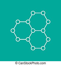 Vector outline icon - Vector outline graphene icon on color...