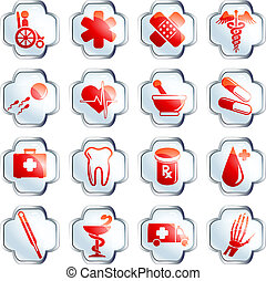 Glossy white medical buttons