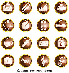 Round brown high gloss office buttons - Collection of office...