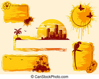 Retro tropical grunge banners in warm tones - Set of retro...
