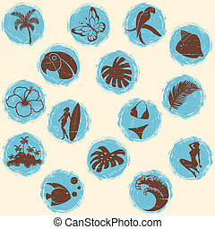 Retro tropical grunge buttons in cool tones - Set of retro...