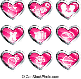 Set of pink heart shaped valentines day icons