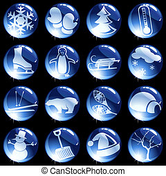 Sixteen high gloss winter themed buttons - 16 dark blue...