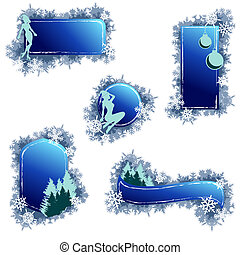 Grungy Christmas elements - Set of 5 winter banners....