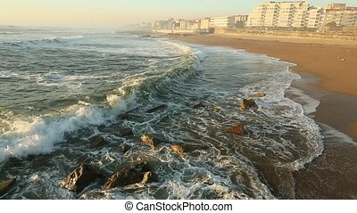 The surf at ocean beach in Porto