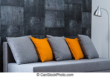 Grey sofa in living room - Photo of grey sofa in modern...