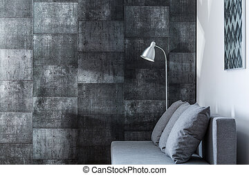 Decorative gray wall - Image of decorative gray wall in new...