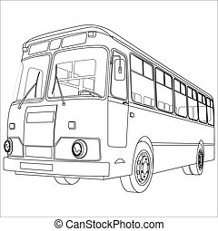 bus - passenger bus for transportation of people on a white...