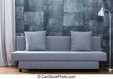Modern sofa and concrete wallpaper - Picture of modern sofa...