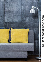 Simple sofa with yellow pillows - Picture of simple sofa...