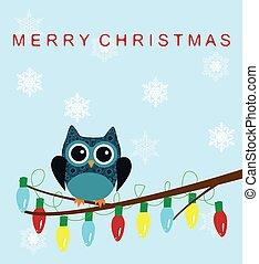 Snow Owl - vector owl family