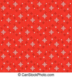 Snow Flakes Pattern Seamless on Red