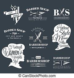Barbershop signs - Set of Retro Barber Shop Labels, Logo,...