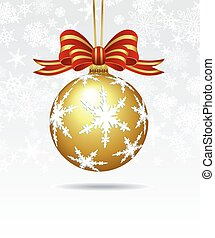 Christmas Bauble on a Snowflake Background Card - Merry...