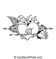 Valentine card. Image of Cupid with heart.