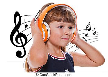 Beautiful cute happy little girl listening music with...