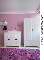 Beautiful and white furnitures in girl's room