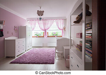 Girls room in the house - Beautiful white furnitures in...