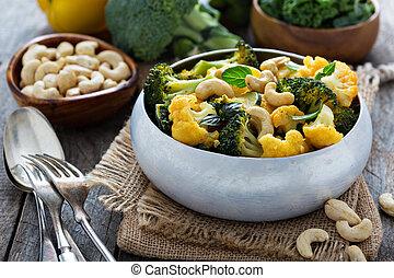 vegetal, caril, caju, nozes
