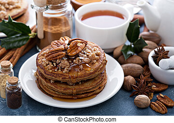 Cinnamon and spices pancakes with pecan nuts - Cinnamon and...