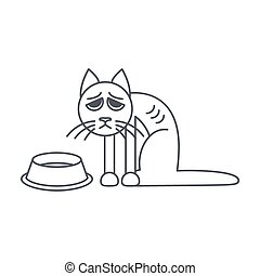 Poor hungry cat line icon - Poor hungry cat sits near empty...