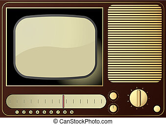 Retro TV - Editable vector background - retro radio and TV