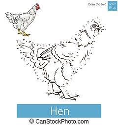 Hen bird learn to draw vector - Hen learn birds educational...
