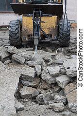 martillo neumático, perforación, asfalto