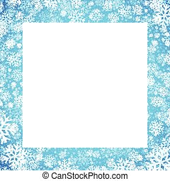 Christmas card with snowflakes frame on blue background. Vector illustration