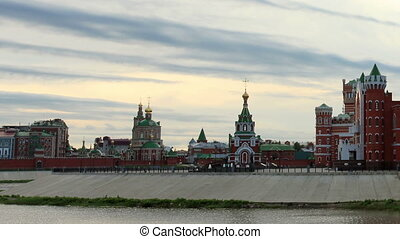 Movement of clouds on the river Small Kokshaga in...