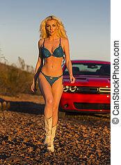 Blonde Sunset Model - A blonde model posing in the desert of...