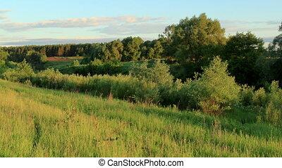 Sunrise on the river Myosha Kulaevo village, Republic of...