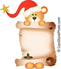 Christmas teddy bear with parchment