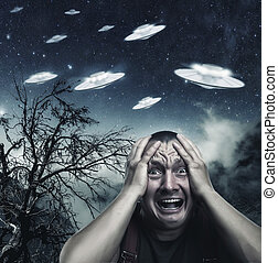 Man scared by UFO - Scared by UFO man screaming at night in...