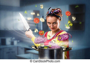 Housewife on the kitchen - Housewife cooking vegetables on...