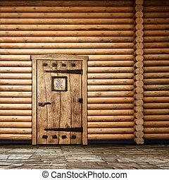 Wooden wall with door - Wooden wall with old door