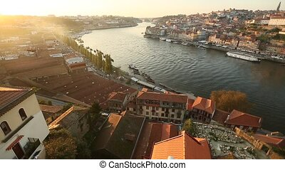 Panorama view of Douro river and Ribeira during sunset