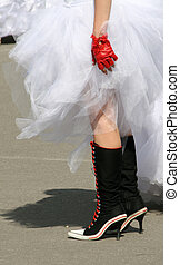 Emo bride in boots and gloves