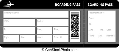 black boarding pass - Airline boarding pass card ticket...